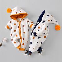 【1件3折到手价:68元】罗町婴儿连体衣冬季夹棉加厚加点印花保暖防寒造型连身衣哈衣爬服
