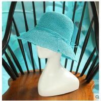 女防晒沙滩帽蝴蝶结透气凉帽 遮阳帽女可折叠 太阳帽卷边草帽