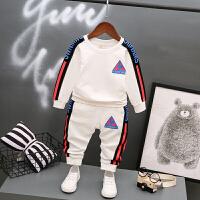 宝宝秋装婴儿运动装春秋套装男童1岁运动套装儿童纯棉衣服两件套 白色 公鸡长袖套装