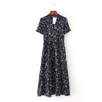 女装夏v领小碎花连衣裙新款欧美风印花修身大摆中长裙子