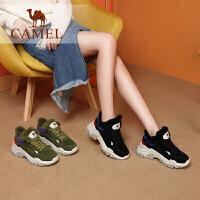 camel骆驼女鞋新款冬季休闲雪地老爹鞋单鞋女棉鞋加绒保暖运动鞋女