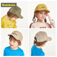 巴拉巴拉儿童帽子男女童鸭舌帽时尚棒球帽潮宝宝灯芯绒百搭遮阳帽
