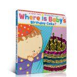 Karen Katz Where Is Baby's Birthday Cake? 纸板翻翻书 英文原版绘本 躲猫猫书