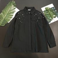 女装秋装韩版气质钉珠黑色衬衫女宽松长袖打底衫上衣潮