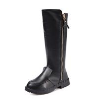 女童靴子2017秋季新款棉靴加绒中高筒二棉靴长靴马丁靴