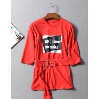 街感字母胶印洋气金属环扣腰带圆领7分袖舒适纯棉T恤秋冬女装 0.3