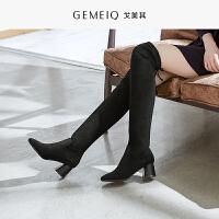 戈美其新款时尚冬季粗跟蝴蝶结时装长靴优雅高跟长筒靴女短靴子