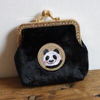 手工包可爱动物园系列迷你口金包复古丝绒硬币零钱包