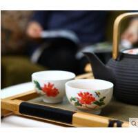 加厚耐热隔烫陶瓷茶具茶杯骨瓷水杯小巧精致耐用耐磨锦牡丹对杯礼盒组