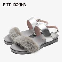 【顺丰包邮,大牌价:298】PITTI DONNA新款水貂毛平底圆头舒适条带女凉鞋9M13802