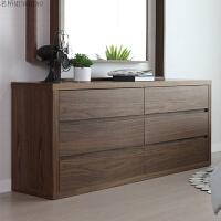 定制北欧木质家具储物柜子现代简约六斗柜抽屉收纳柜卧室胡桃木纹 整装