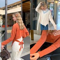 MG小象套头v领短款毛衣宽松外穿2019秋冬新款韩版女小众毛针织衫