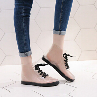 创意便捷透明可爱短筒雨鞋女防水鞋胶鞋套鞋时尚款外穿雨靴夏生活日用雨具