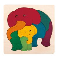 Hape创意拼图-彩虹象2-6岁早教启蒙木制玩具积木拼插拼图拼板E6505