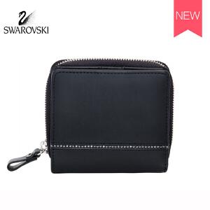 SWAROVSKI/施华洛世奇 经典女士镶水晶短款皮钱包 黑色5186961