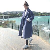 2018秋冬款新款韩版流行雾霾蓝呢子大衣女中长款学生加厚毛呢外套 蓝色 (加棉款)