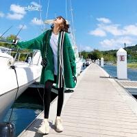 2018早春新款开衫针织衫韩版宽松慵懒风绿色chic毛衣外套女中长款 绿色 均码