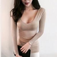 大领V领紧身裸色中袖上衣中长款低胸打底衫女士春夏修身莫代尔T恤 杏色 长袖 莫代尔 M 91-108斤