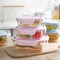 光一玻璃减脂餐学生微波分隔两格上班带饭的饭盒可装汤可爱便当盒少女
