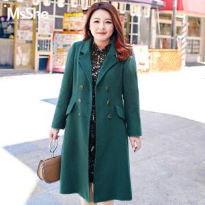 MsShe大码女装2017新款冬装金属双排扣翻领毛呢外套大衣M1740521