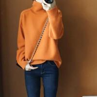 秋冬新款落肩袖纯羊绒衫女高领加厚宽松毛衣短款套头打底针织毛衫