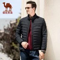 骆驼男装 秋冬新款青年时尚潮流轻薄立领休闲保暖棉服男外套