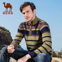 骆驼男装毛衣 秋冬季新款欧美简约条纹加厚长袖休闲毛线衣男
