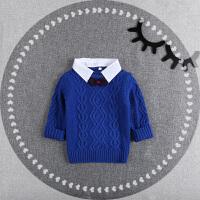 儿童毛衣童装2017新款男童针织衫宝宝假两件套头毛衣婴儿长袖秋 白领小麻花 蓝色