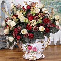 仿真花束套装 客厅摆件餐桌塑料假花中欧式人造陶瓷花瓶艺术手工盆栽摆设装饰品Q