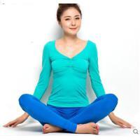 瑜伽服女士长袖 新款 修身 运动瑜珈健身服 含胸垫