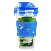 韩国三光云彩glasslock玻璃水杯 带刻度卡通防烫带盖带杯套PC318硅胶套 颜色随机发