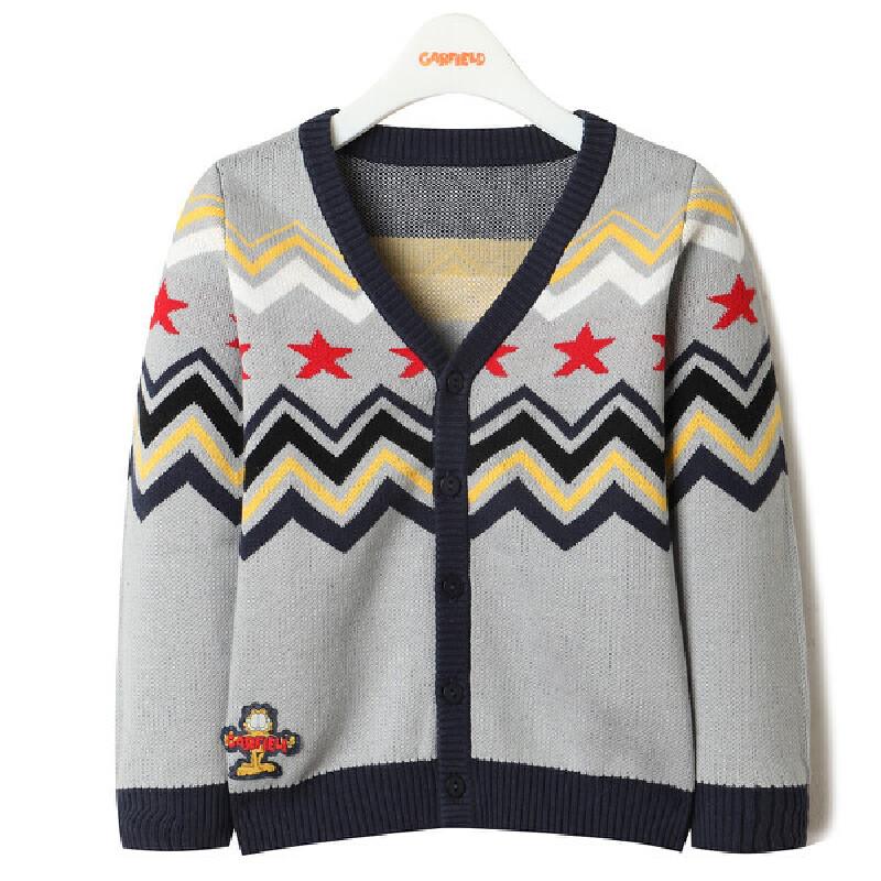 加菲猫儿童装男童针织开衫 春款长袖针织衫GGM17570毛衣 非常有味道的小开衫 小复古的感觉 配色独特