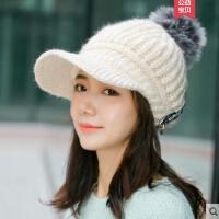 帽子女加绒鸭舌帽学生新款潮韩版百搭甜美可爱毛球毛线帽
