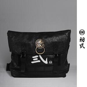 【支持礼品卡支付】初�q中国风潮牌复古压纹男女死飞狮子头邮差包单肩斜挎背包42005