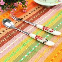 精美婚庆用品陶瓷不锈钢餐具2件套 汤勺餐叉 新郎新娘