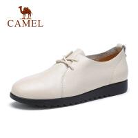 骆驼女鞋2019春夏新品牛皮单鞋系带轻便柔软妈妈鞋深口鞋女