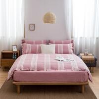 君别酒店色织渐变水洗四件套素色双拼床上用品双人床单被罩