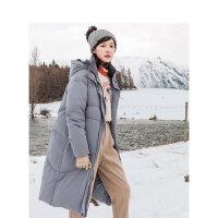 茵曼�L款羽�q服女士冬季新款�B帽立�I保暖�r尚加厚白���q外套�赓|【1894016】