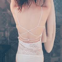 夏季短款防背心蕾丝抹胸围胸美背白色少女性感裹胸内衣 白色有肩带长款 无内裤 均码