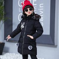 女童棉衣装2017新款韩版棉袄中长款羽绒加厚款 兔子款棉衣 黑色