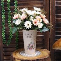 假花仿真花客厅摆设室内装饰品塑料花餐桌摆件干花艺绢花插花盆栽 金色 复古+3翠菊粉