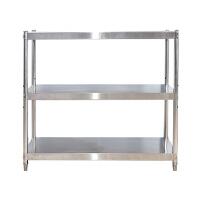 橱柜置物架落地 不锈钢三层置物架微波炉烤箱收纳架落地三层厨房橱柜收纳三层货架 默认