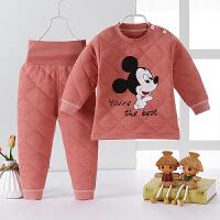 特厚宝宝高腰保暖内衣套装儿童高腰护肚婴儿三层夹棉加厚冬季衣服