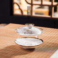 【家装节 夏季狂欢】陶瓷手绘玻璃盖碗三才碗泡茶杯套装大号耐热加厚透明家用功夫茶具
