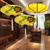 中式布艺吸顶吊灯仿古典客厅茶楼酒店火锅店中国风伞灯具红灯笼日用创意家居