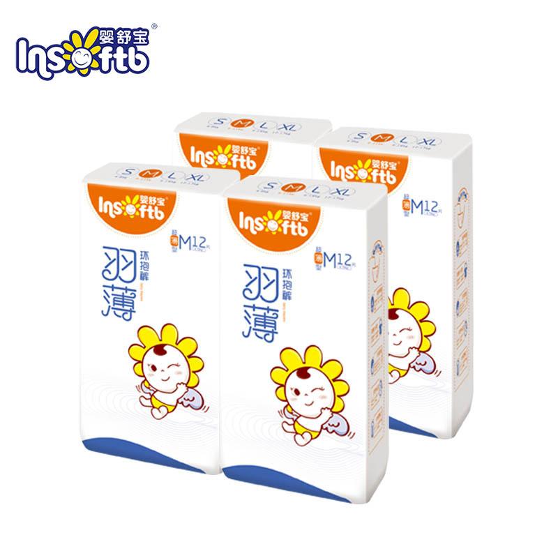 婴舒宝纸尿裤超薄透气羽薄系列环抱裤中号M12片*4包 2020年12月底到期