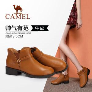 Camel/骆驼女鞋 2018冬季新品时尚简约真皮舒适保暖靴子粗跟短靴