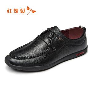 红蜻蜓男鞋2017年秋季新款皮鞋时尚休闲单鞋舒适真皮低帮鞋男正品