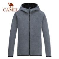骆驼男装秋冬新款韩版潮流上衣连帽拉链卫衣针织外套男开衫