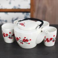 陶瓷梅花茶具五件套瓷茶具茶具五件套 陶瓷茶具五件套 高档中式日式如意 茶壶杯子礼盒套装